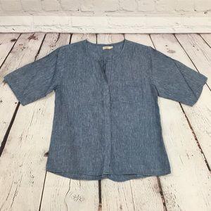 UEC Faherty linen blue shirt sleeve oversize shirt